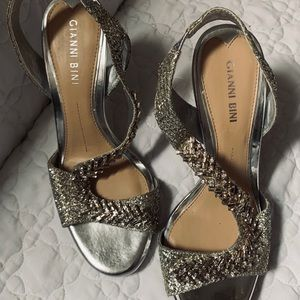 Embellished Silver/Metallic Sling-Back Size 7.5M